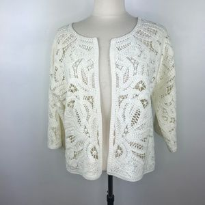 Anthropologie Crochet Open Cardigan